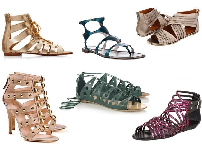 Usa sandalias gladiadoras medianas o hasta la rodilla con vestidos más cortos, sobre todo vestidos arriba de la rodilla, faldas cortas y shorts.